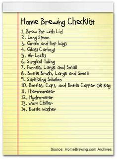 Becoming a Home Brewer: A Home Brewing Checklist
