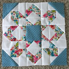 fireworks quilt | think this second block might be my favorite so far. The floral ... Star Quilt Blocks, Quilt Block Patterns, Pattern Blocks, Block Quilt, Quilt Kits, Quilt Top, Scrappy Quilts, Easy Quilts, Mini Quilts