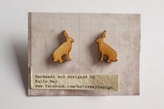 Hare/ Rabbit/ Bunny Laser Cut Wooden Earrings;  This pair of cute hare earrings have been laser cut from wood and mounted on a silver plated