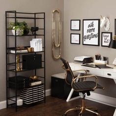 Ideas Office Decor for Cubicle Professional Must Popular 2019 - Simply wipe clean your surface, peel off the top portion of the wallpaper backing, and apply to you - Room Interior, Interior Design Living Room, Interior Office, Gold Office Decor, Decoration Ikea, Cool Office Space, Small Office, Desk Makeover, Home Office Design