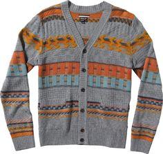 RVCA Calico Cardigan Sweater grey noise