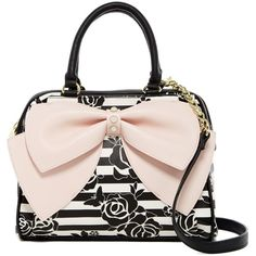 Betsey Johnson Ready Set Bow Satchel ($41) ❤ liked on Polyvore featuring bags, handbags, blush, pink bow purse, satchel purses, chain purse, chain handle purses and pink handbags