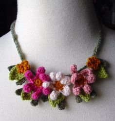 Crochet Pink Zinnia Flowers Necklace by meekssandygirl, via Flickr