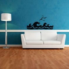 Tribal Waves Wall Decal  Take a trip to Oceania with this bold Tribal Waves Wall Decal. In this design, thick and choppy waves cut across the landscape as a flock of seagulls hover overhead. Striking and edgy, this decal is the perfect way to add a cool, on-trend feel to any room.  SMALL :-- 24 X 13 -- IN INCHES MEDIUM :-- 46 X 24 -- IN INCHES LARGE :-- 48 X 25 -- IN INCHES