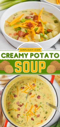 Find yourself turning to this easy soup recipe again and again! Super creamy and delicious, this from-scratch potato soup with bacon is what comfort food is all about. Plus, it makes the perfect weeknight dinner! Slow Cooker Broccoli, Slow Cooker Soup, Slow Cooker Chicken, Potato Bacon Soup, Creamy Potato Soup, Easy Soup Recipes, Easy Dinner Recipes, Salads To Go, Chicken Enchilada Soup