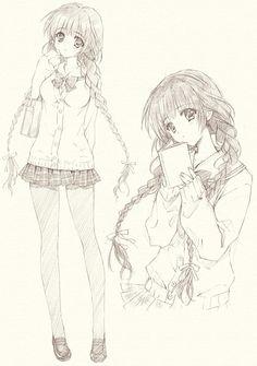[Anime girl drawing]~