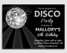 Disco Ball Invitation Printable or Printed with FREE SHIPPING - Personalized for your Party, Birthday, Dance Party, Reunion, Etc.