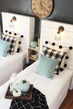 Use buffalo check to create a warm and cozy feeling in your home during the fall and winter months. It is the perfect modern farmhouse decor. #bedding #LampBedroom