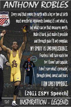 Anthony Robles. Arizona State University. Senior Year: Undefeated NCAA Wrestling National Champion