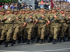 Armenian veterans of the Nagorno-Karabakh War marching through Yerevan's Republic Square in the 2011 Armenian Independence Day Parade.
