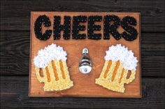 Good beer, great people, and even better functional home decor! This nail & string art piece is not only functional, but it makes a great statement piece for any and all beer drinkers! Impress all of your friends with this super snazzy, definitely not boring and ordinary, beer bottle opener! Wood is hand stained and all nails and string art applied by the owner. The piece measures approx. 11x14in and comes with hanging hardware already installed on the back for easy hanging. All color...