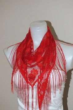 Red Tulle Scarf lace scarf Soft scarf Summer accessories Women fashion accessories  Red scarf Red summer scarf Gift for MOM gift for her by MissSelinAccessories on Etsy