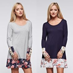 XX GIANNA floral long sleeve dress - NAVY/H. GREY Button Details Floral Print Paneled Long Sleeves Dress. Available in H. grey & navy   NO TRADE, PRICE FIRM Bellanblue Dresses Long Sleeve