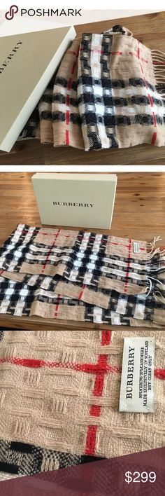 "Authentic New Burberry Scarf with Box This is an authentic Burberry scarf, new in box and never worn.  It measures approx. 6' long and 10"" wide.  Perfect for the upcoming winter! Burberry Accessories Scarves & Wraps"