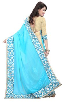 Designer Bollywood Style Georgette Embroidered Saree