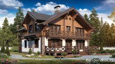 визуализация канадских домов Yellow Houses, Log Homes, Exterior Design, Survival, House Design, Mansions, House Styles, Villas, Buildings