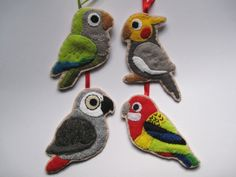 SALE  4 Parrot Felt Ornaments  Eastern Rosella by FreaksOnCanvas, €35.00