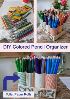 pencil organizer, how to organize colored pencil, diy pencil organizer, organizing with toilet paper rolls, recycling toilet paper rolls Colored Pencil Storage, Colored Pencil Holder, Colored Pencils, Diy Pencil Holders, Toilet Paper Roll Crafts, Diy Paper, Crayon Organization, Stationary Organization, College Organization