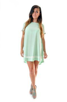 Robe trapèze à manches courte en coton vert d'eau et dentelle écru : Robe par gwaelonna dress coton mint
