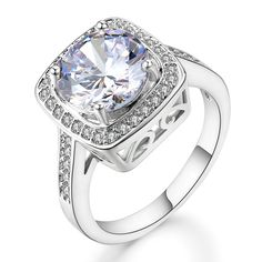 Ritzy Glam Cubic Zirconia Platinum Plated Ring | Stunning Crystal Clear April Birthstone in Platinum Halo Setting with 28 CZ Stones | Nickel-Free, Anti-Allergy, Round Cut Fashion Jewelry for Women >>> Visit the image link more details.-It is an affiliate link to Amazon. #Rings
