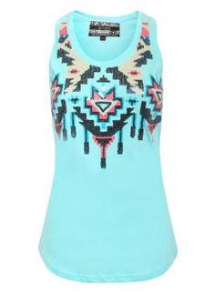 Tiffany blue Aztec/tribal pattern tank
