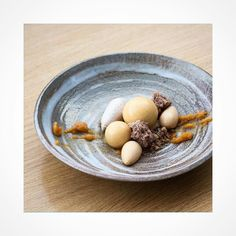 """Here's is one more stunning dish by @angelabaracskay and she explains it with her own words: """"Hi as you see Im from Hungary and this dessert inspirated by the autumn. The colours the flavours we use to make quince jam this time we use to collect the walnuts from the forrest. This this dessert reminds my childhood. The components: walnut a quince soil quince ragou based on gastric and dried apricot Walnut ice cream walnut sponge caramell bavaroise and quince mousse This is one of my weekly…"""