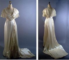 Edwardian wedding gown with robe and sash, 1912