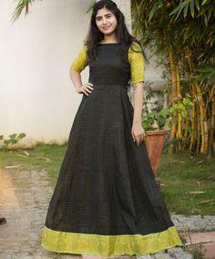Sungudi Black and Lime Zari Maxi Dress  #anarkali #zaricheck #sungudi #longdress #floorlengthdresses #mogra #sareegown