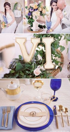 love the roman numeral table numbers wedding-decor-italian-courtyard