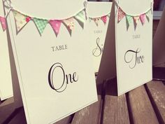 Bunting Table Number Card Wedding Table by FromLeoniWithLove, £3.50
