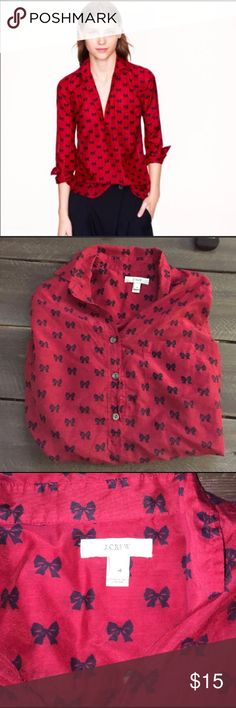 J Crew bow blouse J Crew bow blouse. Gently used, just a little wrinkly. Red with black bows (some people say they're navy blue, it's hard to tell). Size 4 J. Crew Tops