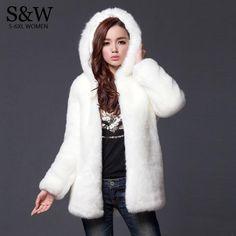 45474bcca49 Warm Winter Thick Fur Women Faux Fur Coat Medium-long Hooded Rabbit