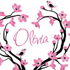 The name olivia wallpaper olivia name wallpapers olivia name cherry tree wall decal personalized with name nursery decor baby children voltagebd Image collections