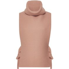 Tome Turtleneck Apron Top (717 725 LBP) ❤ liked on Polyvore featuring tops, pink, turtle neck top, beige top, tome, sleeveless tops and tie top