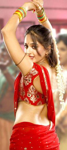 Anushka Hot Photos In Red Saree - Anushka Shetty