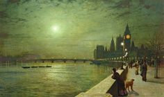 Reflections on the Thames, Westminster by John Atkinson Grimshaw, 1880