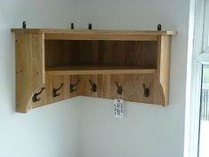 Vancouver Petite Solid Oak Large Corner Shelf Storage With 6 Coat Hooks Nb088