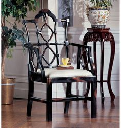 Chinese Chippendale chair in a tortoise shell finish from Design Toscano.