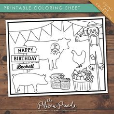 County Fair Collection Printable Kid's by thepelicanparade on Etsy Coloring Sheets For Kids, Printable Coloring Sheets, Printable Designs, Printables, Country Fair, Party Activities, Kid Names, Custom Items, Invitation Design