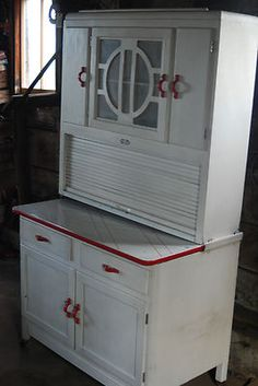 White w/red trim Hoosier Sellers Cabinet Cupboard Enamel Top Roll Top |