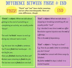 "What is the Difference between ""End"" and ""Finish""?"