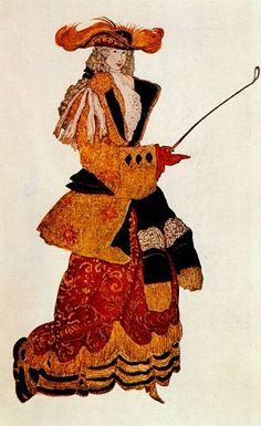 Leon Bakst-Costume design for one of the five Dutchesses from The Sleeping Princess 1921-Спящая-красавица Графиня 1921. Леон Бакст
