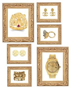 """Gold Digger"" by pradagucci on Polyvore featuring Chanel, Kevin Jewelers, Rolex, Alighieri, Allurez, Oscar de la Renta, women's clothing, women, female and woman"
