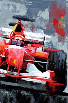Race Car Art Ferrari F1 Automotive Canvas Print Sports Car | Etsy