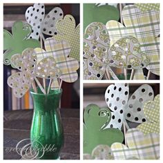 Adorable St. Patrick's Day shamrock and vase craft with a clever glitter trick! www.onshetwoshe.com