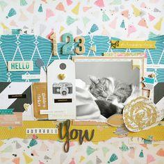 School Scrapbook Layouts, Scrapbooking Layouts, Scrapbook Paper, Paper Confetti, Cat Sketch, Crate Paper, Scrapbook Embellishments, Studio Calico, American Crafts
