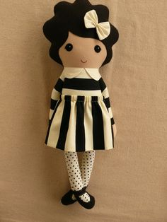 Reserved for Kim Fabric Doll Rag Doll Black Haired by rovingovine
