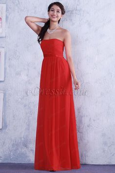 Red A-line Strapless Pleated Evening Dress Bridesmaid Dress (C36145102) #edressit #fashion #dresses #eveningdresse #bridesmaiddresses #straplessgowns #red #bridesmaiddresses #formalwears