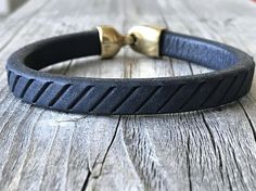 Men leather bracelet  blue leather bracelet men leather