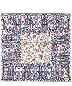 Decorated in Garden Gates Liberty print, this Liberty London scarf was originally designed by the Liberty Design Studio in Flower Tree Image, Liberty Scarf, London Garden, Liberty Print, Scarf Design, Garden Gates, Paint Designs, Silk Scarves, Cream